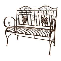 Oriental Furniture - Rustic Metal Garden Bench - Rust Patina - What's old is new with this beautiful wrought iron garden bench. Featuring an antique design and a rust patina for that authentic touch, this bench harkens back to an age when elegant design and high standards were the norm. Perfect for adding a shabby chic touch to your patio or garden, this bench brings the type of look that never goes out of style.