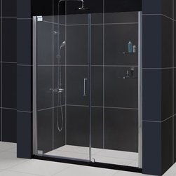 "DreamLine - DreamLine SHDR-4158720-01 Elegance Shower Door - DreamLine Elegance 58 to 60"" Frameless Pivot Shower Door, Clear 3/8"" Glass Door, Chrome Finish"
