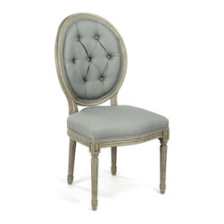 Kathy Kuo Home - Pair Madeleine Oval Tufted Sage Green Linen Dining Chair - Truly an icon of traditional French style, this medallion back, tufted side chair has a regal disposition and an eternally formal effect no matter where it is placed.  Slightly distressed and upholstered in a subtle sage linen, this piece is an elegant statement whether alone or in a group.