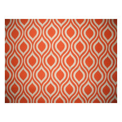 """Close to Custom Linens - 15"""" California King Bedskirt Gathered Nicole Orange Beige Geometric - Nicole is a contemporary medium scale geometric in orange on a neutral beige linen-textured background"""