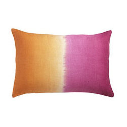OMBRÉ PILLOW - FLAMINGO - The Bandhani style of tie-dyeing is a centuries-old process that involves tying threads tightly around parts of the fabric to create varied and unique patterns. Our linen hand-dyed pillow covers are brilliant and eye-catching. They come in a stunning variety of colors and patterns, so you're guaranteed to find the perfect one to update your space.
