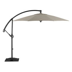 10' Round Sunbrella® Stone Free-Arm Umbrella with Base - A smart neutral stone canopy of Sunbrella® acrylic fabric blocks out 98% of the sun's UV rays. Sturdy hammer-finished aluminum frame, pole and base in a black powdercoat has a simple crank system that opens the umbrella; arched arm telescopes up and down the vertical pole to adjust the height. Base is outfitted with wheels and handles for easy positioning around outdoor furniture.