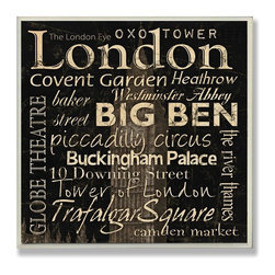 Stupell Industries - London Typography Landmarks Square Wall Plaque - Made in USA. Ready for Hanging. Hand Finished and Original Artwork. No Assembly Required. 12 in L x .5 in W x 12 in H (2 lbs.)Made in USA! celebrate your favorite city with a distressed hand-painted wall plaque. Featuring trendy typography-styled letters in a monochromatic color scheme, these plaques will add edgy appeal to any room of your house. Measuring 15 x 10, each plaque is constructed of sturdy medium-density fiberboard with coved and painted borders and a sawtooth hanger for simple installation.