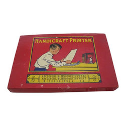 Handicraft Printer Box Set - A really cool vintage rubber printing set by The Superior Type Company, Chicago IL. It has the mini rubber letters, but missing is the original ink pad. I believe this is circa late 1930s. The box itself is a wonderful display in a child's room or library in its red and yellow colors and graphics.