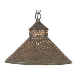Irvin's Tinware - Stockbridge Shade Pendant Light with Willow Design in Blackened Tin - Designed to be smaller in size so that it can be used above a sink or in pairs above a kitchen island. Finished with a fine crimping on the edges and a rustic punched willow design.