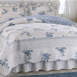 Pem America - American Traditions Rose Blossom Blue Twin Quilt - - Scalloped edges delicate flowers and fine stitching in this classic bed. 100% cotton face materials and cotton fill make this quilt a classic for any traditional bedroom. Twin Size Quilt measures 68x86 inches.  - 100% Cotton Face cloth with 94% cotton / 6% other fiber fill. Prewashed for comfort.  - Machine washable. Pem America - PQW1406BTW1100