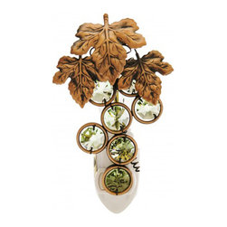 KGNC - Tuscany Wine Leaf and Green Grapes Night Light - Brushed Nickel Crystals By Swarovski
