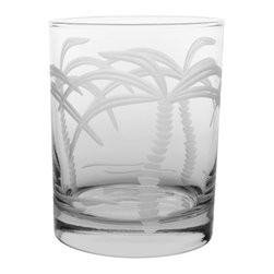 Rolf Glass - Palm Tree DOF 14oz, Set of 4 - Make yours a double, whether it's an actual cocktail or simply a glass of guava juice, it will taste better in these cut-glass double-old-fashioned tumblers. With graceful, swaying palm trees engraved on every side, you'll swear you're in the tropics.