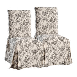 None - Toile Dining Chair Slipcovers (Set of 2) - This pair of slipcovers for dining chairs will create a stylish focal point in any room. A beautiful toile pattern is printed on the machine-washable cotton fabric.