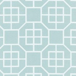 Schumacher - Glacier Fret Fabric, Mineral - 2 Yard Minimum Order