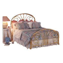 Hillsdale Furniture - Hillsdale Jackson Classic Brass Panel Bed - King - Jackson features transitional styling by combining a traditionally arched outer frame with a more contemporary combination of scrolls and finished off with a very pretty casting connection the scroll to the outer arch.