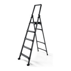"Frontgate - High Reach 5-Step Ladder - Crafted from durable aircraft-grade aluminum. 3½"" deep steps. Folds down to a width of 5¼"" for storage. Conforms to ANSI Type IA commercial standards. 300-lb. capacity. Featuring a top step that's an impressive 30"" higher than typical 5-step models, this lightweight aluminum ladder gives you the added reach you need for all your household tasks.  . 3 1/2 "" deep steps . Folds down to a width of 5 1/4 "" for storage .  .  ."