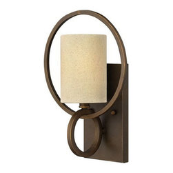 Antique Iron Art and Flax Shade Wall Sconce in Baking Finish -