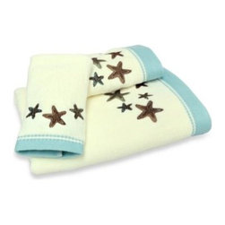 Chf Industries Inc. - Tremiti Bath Towel - Decorate your bath room with some under the sea style. A beautiful starfish pattern adorns this towel in a pretty ivory color with green accents.