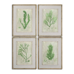 Uttermost - Emerald Seaweed Framed Art Set of 4 - Prints are accented by off-white linen mats then surrounded by reclaimed wooden frames finished in black with light brown wash. Inner lips and fillets are accented with white and gray paint. Prints are under glass.