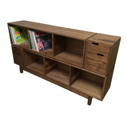 """Boles Studio - Walnut Record Storage Unit - Walnut Record Storage Unit. Lots of LP storage with two drawers for 45's and two small drawers to store all of your record player's accoutrements. Dimensions 6' long, 15"""" deep and 37"""" tall. This unit can built to custom dimensions from a wide variety of wood species."""