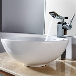 Kraus - Kraus White Round Ceramic Sink and Unicus Faucet - Add a touch of elegance to your bathroom with a ceramic sink combo from Kraus.