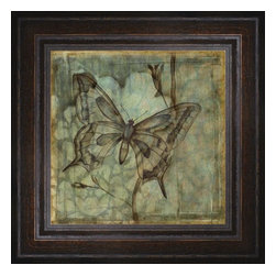 """Posters 2 Prints LLC - Small Ethereal Wings Iv - Small Ethereal Wings IV by Jennifer Goldberger. Canvas Giclee framed with a beautiful 2.125"""" Distressed Brown frame. Our Canvas Giclee product is made using a Giclee printing process that uses up to 12 different color inks that spray onto high quality canvas paper to give a product that looks most like an original painting."""