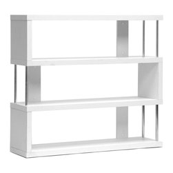 Baxton Studio - 3-Shelf Modern Bookcase - Chrome-plated steel supports. Wipe with a dry cloth. Made from engineered wood. White finish. Made in Malaysia. Assembly required. 43.38 in. W x 11.5 in. D x 38.5 in. H (45 lbs.)