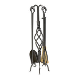 Achla - Helix Fireplace Tool Set w 4 Pcs - The focal point for this embellished fireplace tool set is definitely the stand's forged helix middle—spirals of wrought iron attractively whirling about each other.  The stand, shovel, poker, tongs, and brush are all finished in a rich bronze powder coat, too. * Wrought iron construction. Bronze powdercoat finish. Set includes tongs, poker, broom, shovel and stand