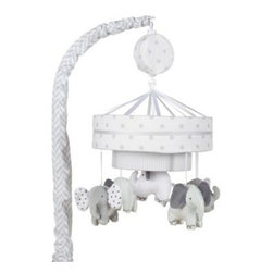 """Just Born - Just Born Hattie & Ellie Collection Musical Mobile - Let the sweet sounds of this Hattie & Ellie Musical Mobile calm and entertain your baby in their crib. Listen to your little one giggling off to sleep while a soothing lullaby softly plays and the cute elephant plush characters """"dance"""" above her head."""