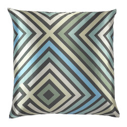 "NECTARmodern - Maze (multi) graphic zig zag throw pillow 20"" x 20"" - Blue, green, and gray lines are imperfectly offset in a maze-like pattern. Front and back are different prints of the same overall design. Main material is a smooth satin with slight sheen. Designer quality cover with overstuffed feather/down insert."