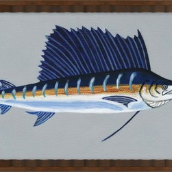 Wendover Art - Sail Fish - This striking Giclee on Paper print adds subtle style to any space. A beautifully framed piece of art has a huge impact on a room for relatively low cost! Many designers and home owners select art first and plan decor around it or you can add artwork to your space as a finishing touch. This spectacular print really draws your eye and can create a focal point over a piece of furniture or above a mantel. In a large room or on a large wall, combine multiple works of art to in the same style or color range to create a cohesive and stylish space!
