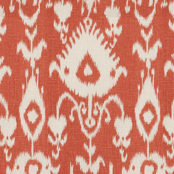 "Ballard Designs - Malabar Coral Fabric by the Yard - Content: 100% linen. Repeat: Non-railroaded fabric with 25 1/2"" repeat. Care: Dry clean. Width: 54.5"" wide. Striated cream Ikat medallion printed on crisp, coral 100% linen  . .  .  . Because fabrics are available in whole-yard increments only, please round your yardage up to the next whole number if your project calls for fractions of a yard. To order fabric for Ballard Customer's-Own-Material (COM) items, please refer to the order instructions provided for each product.Ballard offers free fabric swatches: $5.95 Shipping and Processing, ten swatch maximum. Sorry, cut fabric is non-returnable."