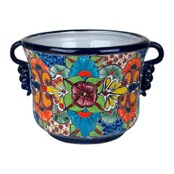 "Talavera Ceramic Squash Flower Pot with Handles - This beautiful, colorful Talavera squash planter is handmade and hand painted. The decorative handles add an elegant touch. Lovely in your home or garden. Free shipping. 16.5"" w x 14"" dia. x 11"" h (9.5"" dia. bottom)"
