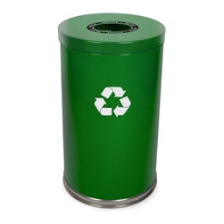 Witt Industries - Witt Industries Single Opening 33 Gallon Green Recycling Bin - 18RTGN-1H - Shop for Recycling Bins from Hayneedle.com! Additional FeaturesIncludes recycling labels to clearly mark your binLid is easy to put on and lift offDurable steel constructionBin holds 33 gallons of recyclablesStart a recycling program in the workplace with the classic Witt Industries Single Opening 33-Gallon Green Recycling Bin. Constructed from steel for durability and longevity this bin can hold bottles cans glass paper or plastic. The large opening in the lid makes it simple to toss recyclables in while the plastic liner will help keep your bin clean. Labels are included so you can clearly mark you recycling container which hold ups to 33 gallons of recyclables.About Witt IndustriesWith its rich and established history in the steel waste receptacle manufacturing industry that dates back to 1887 Witt Industries has been in the forefront with its innovation quality and service. The company's founder George Witt invented and patented the first corrugated galvanized ash can and lid back in 1889 and the company has never looked back. Today Witt Industries is part of the Armor Metal Group and is a woman-owned business.