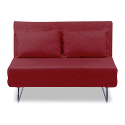 "furnitive - Frizzo Red Sleeper Couch - With great fabrics and a width of only 53.54"", the Frizzo sofa bed is perfect for small spaces. The Frizzo sleeper sofa can be manipulated to serve as a sofa or chaise longue or bed with ease."