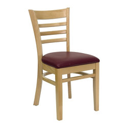 Flash Furniture - Hercules Wooden Restaurant Chair - Set of 2 - Set of 2. Ladder style back. 2.5 in. thick 1.4 density foam padded seat. Burgundy vinyl fabric upholstery. Curved support bars. Plastic floor glides. Warranty: 2 year limited. Mortise and Tenon style construction. Metal wood screw reinforcements. Made from solid European beech hardwood. Wood frame in natural finish. Minimal assembly required. Back: 14.5 in. W x 15 in. H. Seat: 16.75 in. W x 16.75 in. D. Seat Height: 19.5 in.. Overall: 20 in. W x 17.5 in. D x 33.75 in. H (24 lbs.)