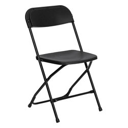 Flash Furniture - Flash Furniture Hercules Series 800 lb. Capacity Black Plastic Folding Chair - Plastic folding chairs are the choice of many event planners for their lightweight design, ease of cleaning, and versatility among events. This portable folding chair can be used for banquets, Parties, Graduations, Sporting Events, School Functions and in the Classroom. This chair will be the perfect addition in the home when in need of extra seating to accommodate guests. constructed of lightweight textured polypropylene and a strong steel frame, these folding chairs will suit most any occasion. [LE-L-3-BK-GG]