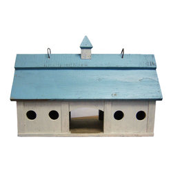Songbird Essentials - Blue Stable Bird Feeder Large - This classic platform bird feeder is modeled after an old horse stable. This is a true Birdbarns classic and one of our best sellers of all time. Includes hook to hang.