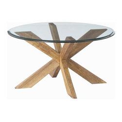 """Arteriors - Arteriors Home - Gwenieve Cocktail Table - 2646 - This casual and visually interesting cocktail table starts with a nicely beveled round piece of glass that sits on top of a clever jack-like solid wood base that has been sandblasted then waxed. Features: Gwenieve Collection Cocktail TableSandblast Antique WaxBeveledClear Some Assembly Required. Dimensions: H 17 1/3"""" x 32 3/4"""" Dia"""