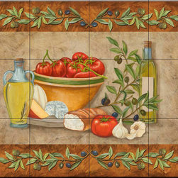The Tile Mural Store (USA) - Tile Mural - Tuscany Treats I - Mt - Kitchen Backsplash Ideas - This beautiful artwork by Mary Lou Troutman has been digitally reproduced for tiles and depicts a nice border around some tuscany treats.  Our kitchen tile murals are perfect to use as part of your kitchen backsplash tile project. Add interest to your kitchen backsplash wall with a decorative tile mural. If you are remodeling your kitchen or building a new home, install a tile mural above your stove top or install a tile mural above your sink. Adding a decorative tile mural to your backsplash is a wonderful idea and will liven up the space behind your cooktop or sink.