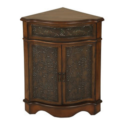 Welcome Home Accents - Walnut Corner Cabinet - Walnut finish corner table features top drawer that opens and two bottom doors that open to reveal storage space. Retro tin panels accent this table. Wipe with a dry cloth. Made in China.