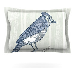 "Kess InHouse - Sam Posnick ""Blue Jay"" Pillow Sham (Cotton, 30"" x 20"") - Pairing your already chic duvet cover with playful pillow shams is the perfect way to tie your bedroom together. There are endless possibilities to feed your artistic palette with these imaginative pillow shams. It will looks so elegant you won't want ruin the masterpiece you have created when you go to bed. Not only are these pillow shams nice to look at they are also made from a high quality cotton blend. They are so soft that they will elevate your sleep up to level that is beyond Cloud 9. We always print our goods with the highest quality printing process in order to maintain the integrity of the art that you are adeptly displaying. This means that you won't have to worry about your art fading or your sham loosing it's freshness."