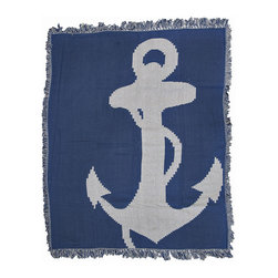 Nautical Anchors Away Woven Cotton Tapestry Throw Blanket - This blue and light gray woven tapestry throw blanket is a wonderful addition to rooms with nautical decor. Made of cotton, the blanket measures 46 inches wide, 56 inches long, and has approximately 1 1/2 inches of fringe around the border. One side is blue with a light gray anchor, the other side is light gray with a blue anchor so you can change up the look of the blanket draped over the back of your couch, on a chair, or on the end of your bed. Care instructions are to machine wash in cold water on a delicate cycle, tumble dry on low heat, wash with dark colors separately, and do not bleach. This comfy blanket makes a great housewarming gift that is sure to be loved.