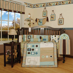 """Geenny - Boutique Baby Boy Artist 13 Piece Crib Bedding Set - This listing is for a 13 piece beautiful Geenny brand new crib set with all the bundle you will need. This set is made to fit all standard cribs and toddler beds. The whole set comes with 10 pieces plus 3 new wall art decor hangings, which comes out as a total 13 piece bundle. The set is made by Geenny Designs, well known as Nursery Series Products Designs. All bundled pieces are in a brand new zippered, handled carrying bag. Dress up and decorate your baby's room with this beautiful 13 piece crib bedding set. Features: -Set includes: Crib quilt, two valances, skirt, crib sheet, bumper, diaper stacker, toy bag, two pillows, three wall hangings. -Material: 65 / 35 Percent of Polyester / Cotton. -Crib quilt: 45"""" H x 36"""" W. -Crib bumper: 10"""" W x 158"""" D. -Fitted crib sheet: 52"""" H x 28"""" W. -Window valances: 16"""" H x 58"""" W. -Crib skirt: 28"""" H x 52"""" W. -Toy bag: 20"""" H x 14"""" W. -Decorative accent pillows: 10"""" H x 10"""" W. -Machine washable."""