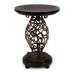 Wrought Iron Scroll Base Occasional Table - *Wrought iron scrollwork makes the body of this stylish occasional table a statement of taste.