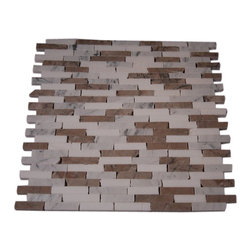 """Vanilla Chai Cracked Joint Classic Brick Layout Marble Tiles - sample-VANILLA CHAI 1/2XRANDOM GLASS TILES CRACKED JOINT BRICK, 1/4 SHEET SAMPLE You are purchasing a 1/4 sheet sample measuring approximately 3 """" x 12 """". Samples are intended for color comparison purposes, not installation purposes. -Glass Tiles -"""