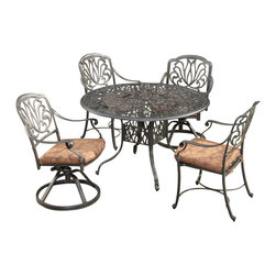 Home Styles - Home Styles Floral Blossom 5 Piece Dining Set in Charcoal-48 Inch Table - Home Styles - Dining Sets - 55583258 - By combining outdoor elements such as ceremonial and abstract floral designs, the Floral Blossom Dining Set by Home Style is brought to life. Set includes: One (1) table, Two (2) swivel chairs with cushions, and Two (2) arm chairs with cushion.