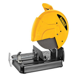 "Dewalt - 14In Steel Cutter Chop Saw - Quick-lock vise for fast material clamping. Ergonomically designed ""D"" handle provides comfortable hand position. Top handle allows saw to be easily moved. 45-degree pivoting fence allows for fast and accurate angle cuts. Spindle lock allows users to make   wheel changes fast and easy saving time and money. Chain lock-down allows the head of the saw to be locked in the carrying position. Steel base allows users to weld jigs or stops directly onto the base. STANDARD EQUIPMENT: 14"" abrasive wheel and wrench.   SPECIFICATIONS: 15 amps, 3.2 H.P. No-load speed 3,800 RPM. 1"" Arbor. WORKPIECE CAPACITY: Cutting capacity 4"" round and 4"" x 7-3/4"" rectangular.      This item cannot be shipped to APO/FPO addresses.  Please accept our apologies"