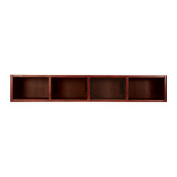 """Exposures - Custom Storage Collection Horizontal Shoebox - Overview This Custom Storage Collection meets everyones storage needs. Accommodate Shoeboxes with these pieces in dark brown wood. Comes with back mounting brackets to secure units together.  Features Horizontal Shoebox Unit accommodates 4 Shoebox Photo Files Base and Top (sold separately) complete the look Each piece comes with back mounting brackets to secure units together Dark brown wood finish    Specifications   Horizontal Shoebox Unit is 38"""" wide x 6 1/2"""" high x 13"""" deep   Shipping  Additional $30 shipping surcharge No Express Shipping"""