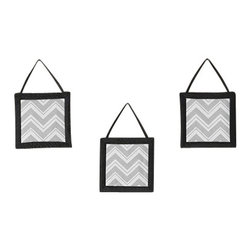 Sweet Jojo Designs - Zig Zag Black and Gray 3-Piece Wall Dcor by Sweet Jojo Designs - The Zig Zag Black and Gray 3-Piece Wall Dcor by Sweet Jojo Designs, along with the  bedding accessories.
