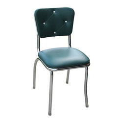 Richardson Seating - Richardson Seating Retro 1950s Button Tufted Diner Side Chair in Green - Richardson Seating - Dining Chairs - 4140GRN - The 50's nostalgic retro look is back. Richardson Seating offers a wide range of retro style diner chairs featuring unique and charming vinyl colors and design patterns. Features durable heavy commercial grade 14 gauge fully welded steel frame in chrome finish. Also equally ideal for residential use.