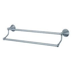 "Kingston Brass - Kingston Brass Satin Nickel Governor 24"" Dual Towel Bar BA2973SN - Kingston Brass' bathroom accessories are built for long-lasting durability and reliability. They are designed so you can easily coordinate matching pieces. Each piece is part of a collection that includes everything you need to complete your bathroom decor. All mounting hardware is included and installation is easy. Manufacturer: Kingston Brass. Model:BA2973SN. UPC: 663370018343. Product Name: 24"" Dual Towel Bar. Collection / Series: Governor. Finish: Satin Nickel. Theme: Contemporary / Modern. Material: Brass. Type: Accessories. Features: 24"" dual towel bar. 2-5/8"" diameter bases. Premium finish. Easy installation. All mounting hardware included."