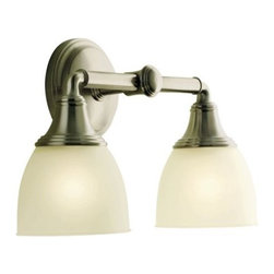 "KOHLER - KOHLER K-10571-BN Devonshire Double Wall Sconce in Brushed Nickel - KOHLER K-10571-BN Devonshire Double Wall Sconce in Brushed NickelFeaturing an elegant combination of curves and gentle lines, Devonshire(R) accessories add refinement to any bath or powder room. This UL and CUL approved double light sconce, offered in a wide array of lustrous finish options, is designed to fit with KOHLER(R) mirrored bath cabinets and complements the Devonshire Suite of products.KOHLER K-10571-BN Devonshire Double Wall Sconce in Brushed Nickel, Features:• 14-15/16""W x 6""D x 9-1/8""H"
