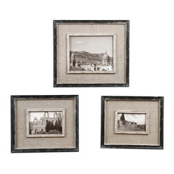 None - Kalidas Distressed Black Photo Frames (Set of 3) - These photo frames are crafted of MDF and glass with a distressed black frame and burlap liner, making them an ideal accent for any style of home decor. These frames fit 4x6-inch, 5x7-inch and 8x10-inch photos.